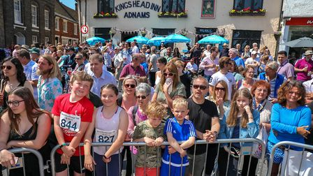 Crowds turned out to cheer on the runners in the Woodbridge 10k, on 20 May 2018. Picture: Steve W