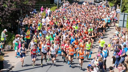 The runners leave the start in the Woodbridge 10k race, on 20 May 2018. Picture: Steve Waller