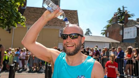 Thomas Wright cools down after running the Woodbridge 10k. Picture: Steve Waller www.stephenwa