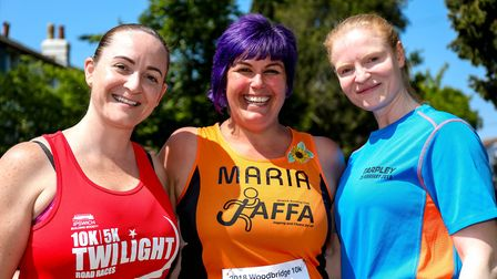 L-R Charlele Evans, Maria Bilner and Hanne Ness pictured ahead of Woodbridge 10k, on 20 May 2018.