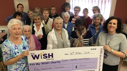 Pictured are members of the Great Waldingfield WI handing over a cheque for £500 to Sally Daniels, r