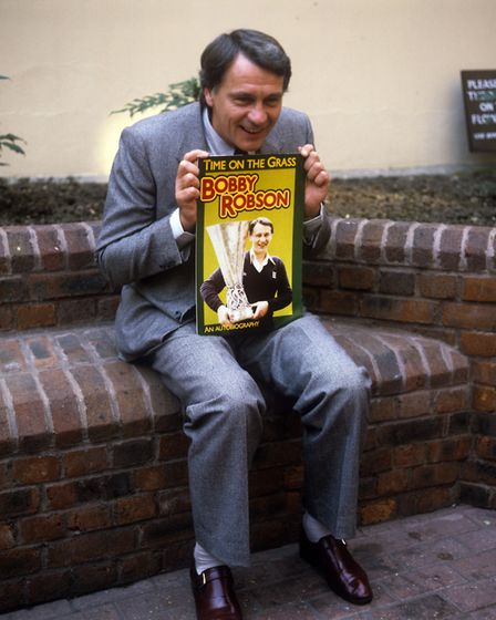 Robson, pictured with his book 'Time On The Grass', published in 1982. Picture: PA