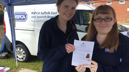 Sarah Winter and Vicky Cassidy from the RSPCA at the Big Day Out Picture: EASTON AND OTLEY COLLEGE