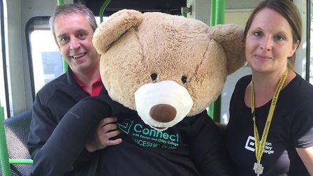 Mark Stead and Mel Utteridge all aboard the apprenticeship fun bus Picture: EASTON AND OTLEY COLLEG