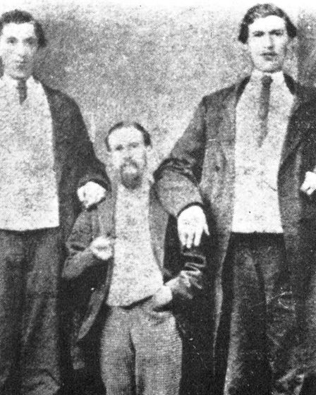 Newbourne giants George Page and his brother Meadows with their father. Picture: SUPPLIED BY BEDFOR