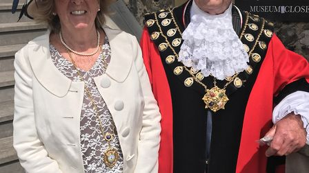 Mayor of Aldeburgh John Digby with his wife Jenny Picture: ROGER COLLIER