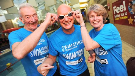 Olympian Duncan Goodhew, pictured wtih Stradbroke Swim and Fitness Centre's Len Phoenix, left, and M