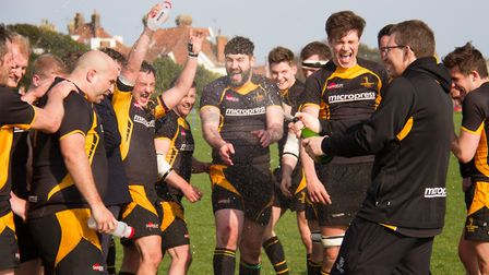 Southwold players celebrate promotion to London 2 North after beating Millwall 49-3. Picture: LINDA