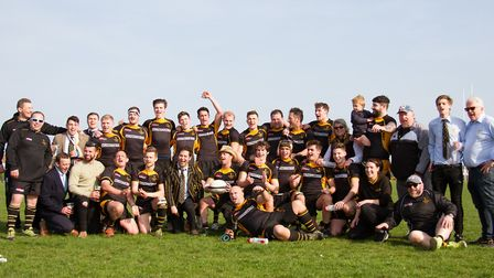 The Southwold Rugby Club squad celebrate winning promotion to London 2 North - the highest level the