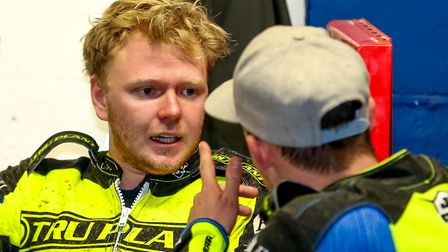 Words of encouragement for Cameron Heeps from skipper Danny King at Foxhall on Saturday night. Pi