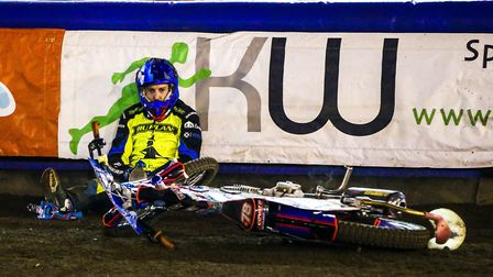 Nico Covatti sits in a heap after crashing in heat 13 of the Lakeside meeting. Covatti is now out fo