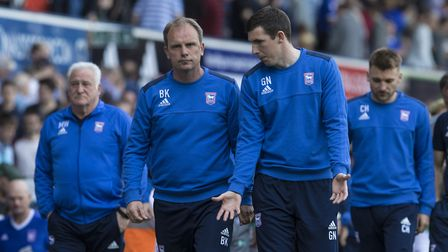 Ipswich caretaker manager Brian Klug, pictured with assistant Gerard Nash, thanked the Ipswich fans