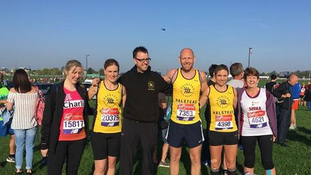 A group of Halstead Road Runners before the start of Sunday's London Marathon