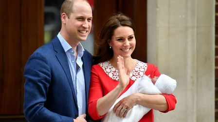 The Duke and Duchess of Cambridge leave the Lindo Wing at St Mary's Hospital in London with their ne