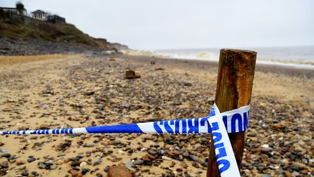 The scene at Thorpeness where a cliff collapsed at high tide resulting in the death of Brendan Laver