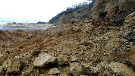 The scene on the beach at Thorpeness after the cliff collapsed. Picture: ANDY ABBOTT