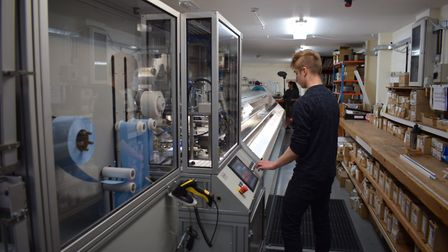 The new machine at Nantmor Blinds with Josh Kerry, who was taken on as a result of the funding and t