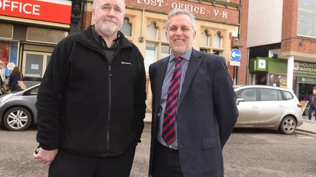 Mark Cordell (right), chief executive of Our Bury St Edmunds, and Martyn Taylor, chairman of the Bur
