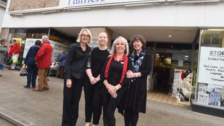 Last day of trading at Palmers Homestore in Bury St Edmunds. Staff members, left to right, Jackie El
