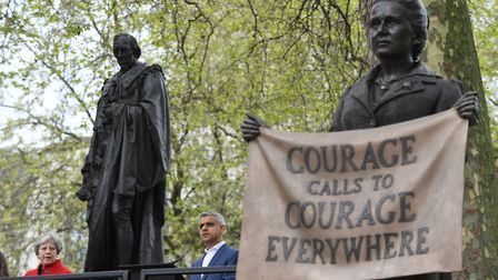 Prime Minister Theresa May (left) and Mayor of London Sadiq Khan at the unveiling of the statue of s