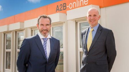 Rinus Scheijde, managing director of Nacton-based logistics firm A2B-online and Alistair Mitchell, p