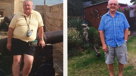 Before and after: Roger Dunnett. Picture: Slimming World