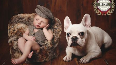 Baby Art Uk's award winning image featuring Baby Noah, from Ipswich, and family pet Lulu, a French