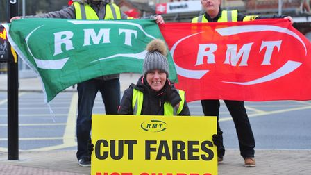 Representatives from the RMT defending the role of the guard. Picture: SARAH LUCY BROWN
