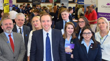 West Suffolk MP Matt Hancock attended the jobs fair to speak with students and exhibitors. Picture: