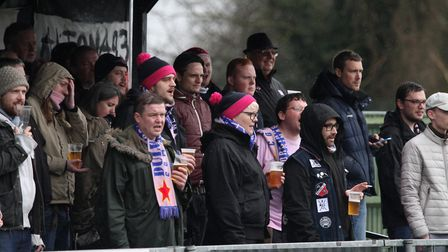 Dulwich Hamlet fans make the trip up from South London to Leiston to support their side. Photo: SIMO