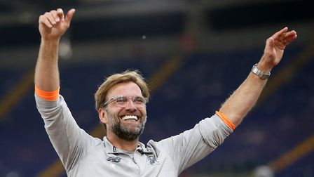 All smiles: Liverpool manager Jurgen Klopp walks out to thank the Liverpool fans after reaching the