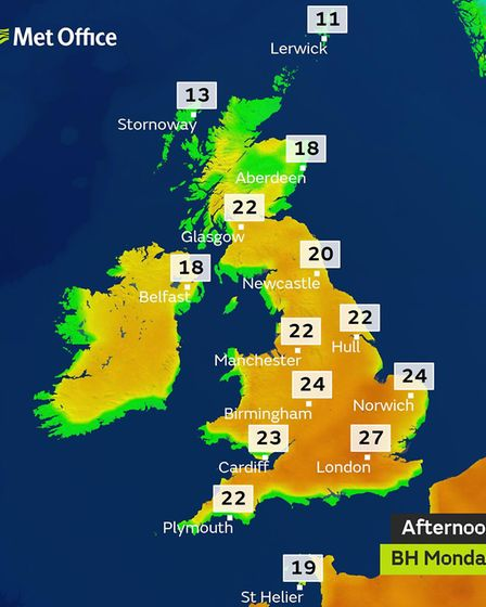 Map showing forecast temperatures for bank holiday Monday. Picture: MET OFFICE