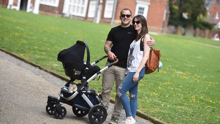 People enjoy the sunshine in Christchurch Park, Ipswich. Pictured is the Canham family. Picture: GRG