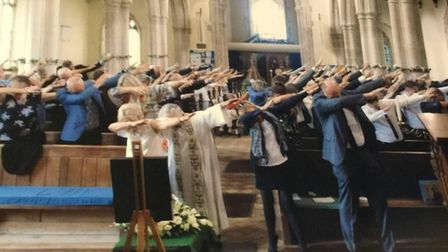 Dabbing at the memorial service at Ixworth Church. Picture: SUPPLIED BY FAMILY