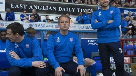 Ipswich Town caretaker manager Bryan Klug (centre), flanked by assistants Gerard Nash and Chris Hogg