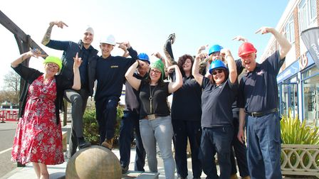 Kent Blaxill staff at Layer Road, Colchester put on their favourite hard hats to promote the import