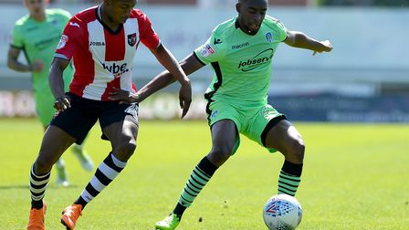 Kane Vincent-Young, shielding the ball during the U's last game of the season at Exeter City last we