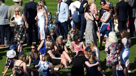 Racegoers during day one of the QIPCO Guineas Festival at Newmarket Racecourse. Picture: JOE GIDDENS