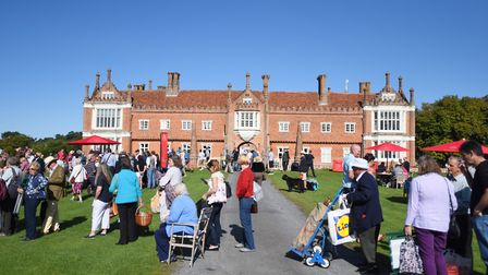 The Antiques Road Show, pictured filming at Helmingham Hall in 2017, has returned to the stately hom