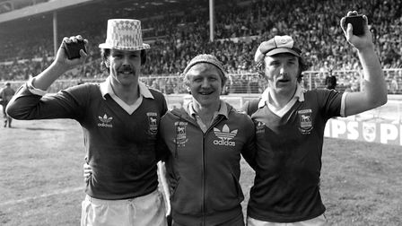 Allan Hunter, coach Cyril Lea and Kevin Beattie show off their medals after Town won the FA Cup in 1