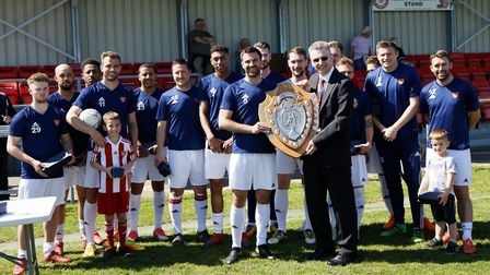 Felixstowe& Walton were presented with the Thurlow Nunn League tunners-up shield before the game by