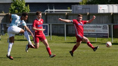 Sam Ford fires in the Felixstowe equaliser at Haverhill. Photo; PAUL VOLLER