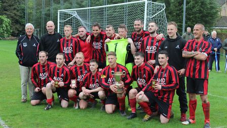 Achilles celebrate their Suffolk & Ipswich League championship success. Photo: CONTRIBUTED
