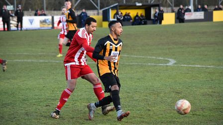 Ace Howell, on target for Stow at Coggeshall. Picture: DAVE WALKER