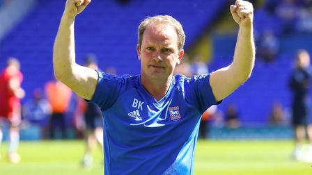 Bryan Klug punches the air as he shows his appreciation for the fans support, after the Ipswich Town
