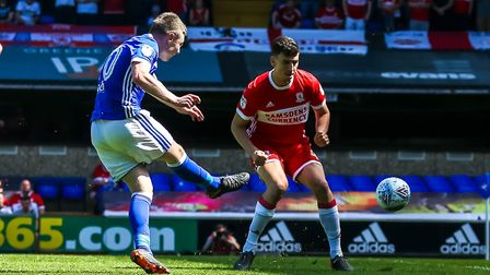 Freddie Sears fires Town into an early lead in the Middlesbrough match. Picture: STEVE WALLER