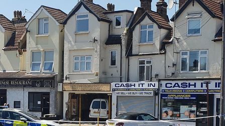 A van crashed into The Hairdresser in Old Road, Clacton, this morning. Picture: JON COWAN