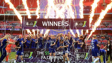 Chelsea Ladies celebrate with the trophy after the final whistle during the SSE Women's FA Cup Final