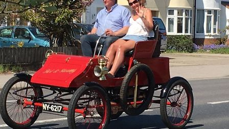 Two of those in the Ipswich to Felixstowe Historic Vehicle Run were able to make the most of the sun