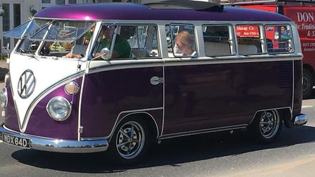 A VW campervan was among the vehicles taking part in the Ipswich to Felixstowe run. Picture: IAN BAR